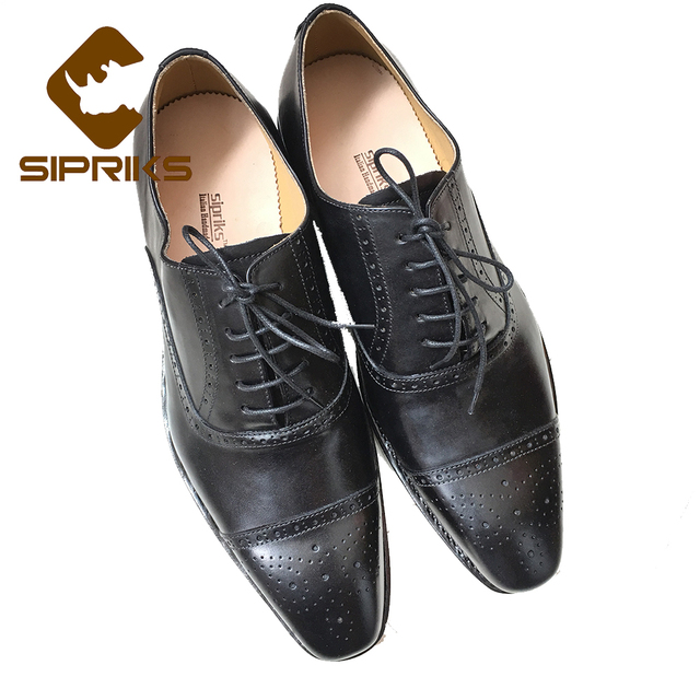 Sipriks Pria Sepatu Elegan Hitam Setelan Pria Merek Mewah Oxford Sepatu  Vintage Bos Kulit Tuxedo Sepatu 9dc15adad4