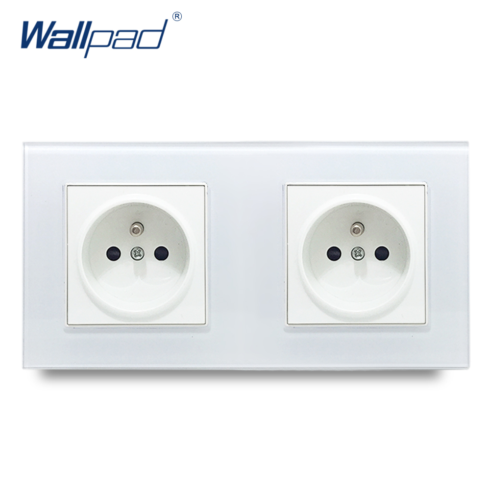 Dual French Socket Wallpad Crystal Glass Panel 110V-250V 10A-16A 172*86mm Double EU French Standard 16A Wall Socket Power Outlet 146 double 13a uk switched socket wallpad crystal glass panel 110v 250v 146 86mm uk standard wall socket plug power outlet