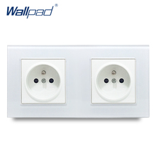 цена на Dual French Socket Wallpad Crystal Glass Panel 110V-250V 10A-16A 172*86mm Double EU French Standard 16A Wall Socket Power Outlet
