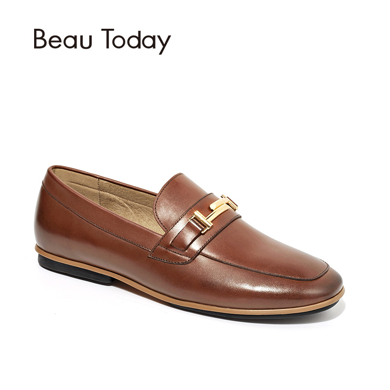 BeauToday Moccasin Loafers Women Top Quality Flats Round Toe Slip-on Metal Decoration Genuine Leather Handmade Brand Shoes 27065 women ladies flats vintage pu leather loafers pointed toe silver metal design