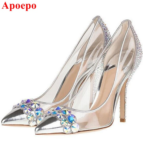 Ladies Pointed toe Silver Contrast Color Bridal Shoes High Heel Shining Crystal PVC Transparent Pumps Women Party Wedding Shoes aidocrystal silver color open toe pumps ladies high heels wedding party crystal slingback shoes with matching bag