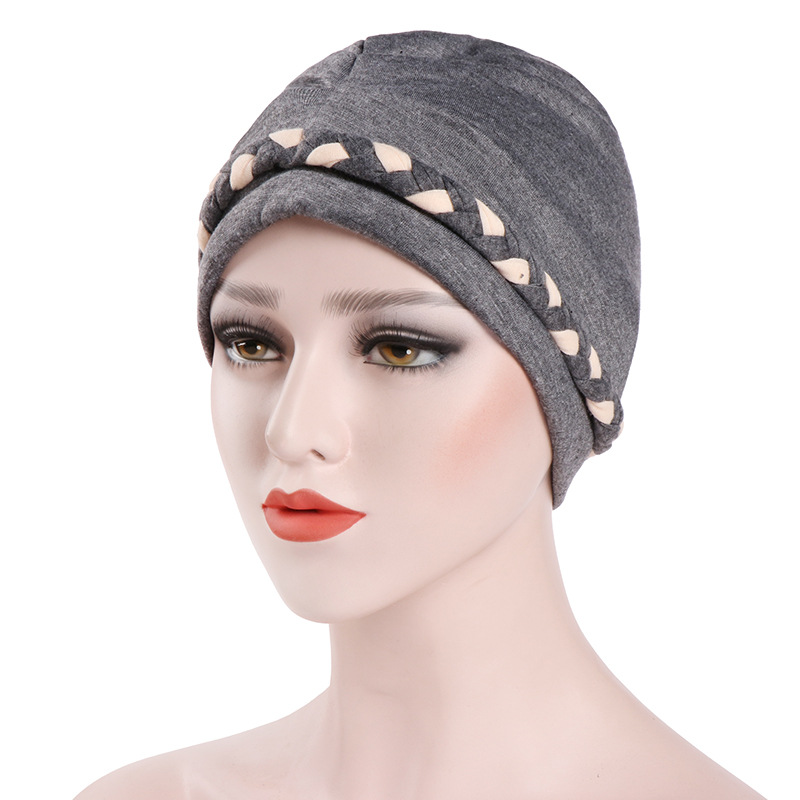 Muslim Women Cotton Whip Turban Hat Scarf Skull Chemo Beanies Hijab   Headwear   Head Wrap Plated For Cancer Hair Cover Accessories