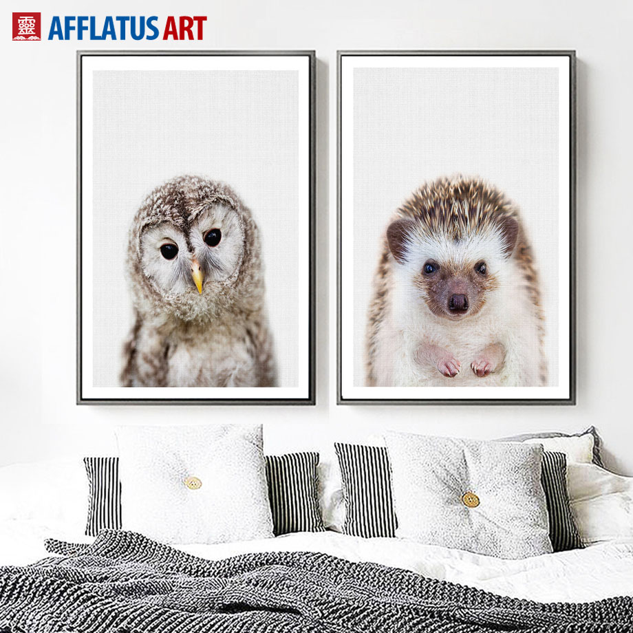 AFFLATUS Owl Hedgehog Wall Art Canvas Painting Nordic Posters And Prints Animal Pop Art Wall Pictures For Living Room Home Decor in Painting Calligraphy from Home Garden