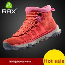 RAX Men Women Genuine Leather Hiking Shoes Outdoor Waterproof Warm Boots Breathable Outdoor Sports Shoes Men Walking Sneakers