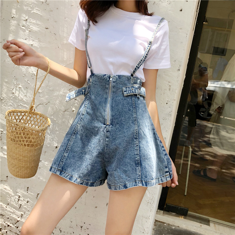 New Women Jeans Before And After Wearing Sling Zipper Loose Casual Slim High Waist Denim Shorts Wide Leg For Female