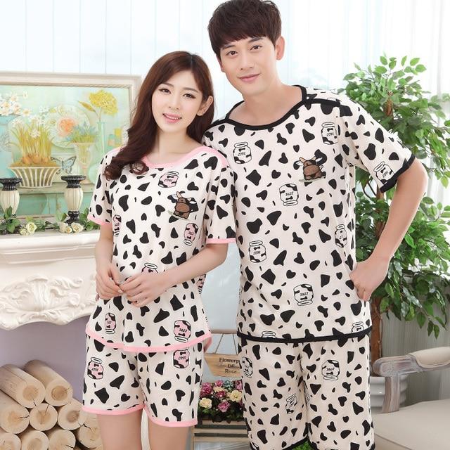 Summer Cotton Pajama Sets Couples Sleepwear Women Pajamas Pijama hombre  Masculino Cartoon Print Pyjamas Men s Pajamas Home Suits 011ea8492