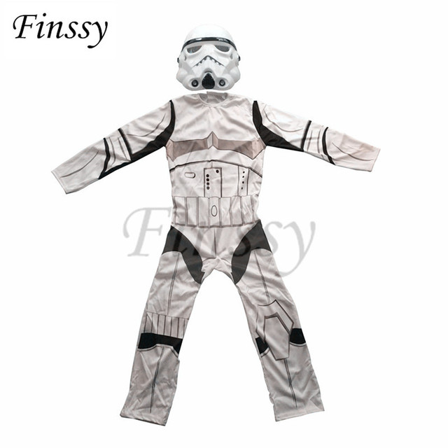 Star Wars Costume for Boys The Force Awakens Storm Troopers Cosplay Halloween Costume for Kids Carnival Party Dress with Mask 1