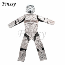 Kostium dla chłopców przebudzenie mocy Storm Troopers Cosplay kostium na halloween dla dzieci sukienka na karnawał z maską tanie tanio Kostiumy Star Wars Cospaly Chłopcy Spodnie Poliester Film i TELEWIZJA Zestawy Finssy