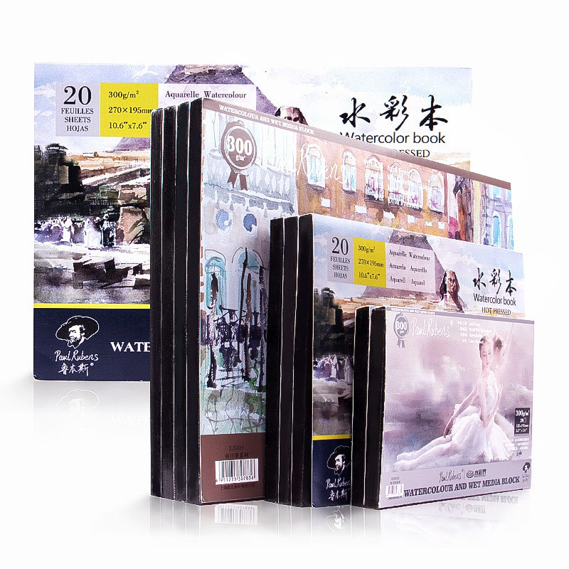 Semi Cotton Pulp  Watercolor Paper Professional Book 300g  20 Sheets Water Absorption Paper For Watercolor Paint  Pattern Random