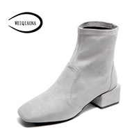 WEIQIAONA 2018 New Winter Warm Women Shoes Short Boots Low Heel S Toe Elegant Martin Boots Ladies Shoes Party Shoes