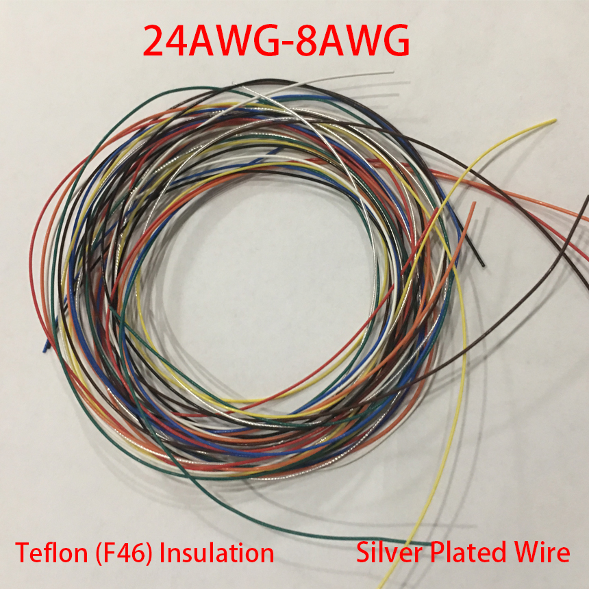 8AWG 6.3mm OD Red Black Clear Teflon F46 PTFE Insulation Silver Plated Copper OFC Stranded Audio Cable Signal Line Earphone Wire 14x16mm ptfe teflon tubing pipe id14mm od16mm 600v high quality brand new wire protection f46 1 meter