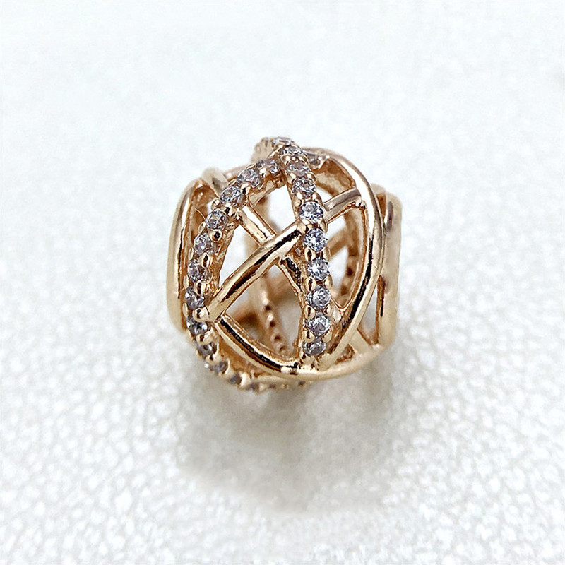 Fits Pandora Bracelet Galaxy Charm with Clear Cz Original Beads Openwork jewelry charms DIY Jewelry free shipping Real K3236