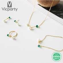 sterling silver 925 green zircon pearl bracelet set women jewelry fashion with gift box for banquet wedding anniversary(China)
