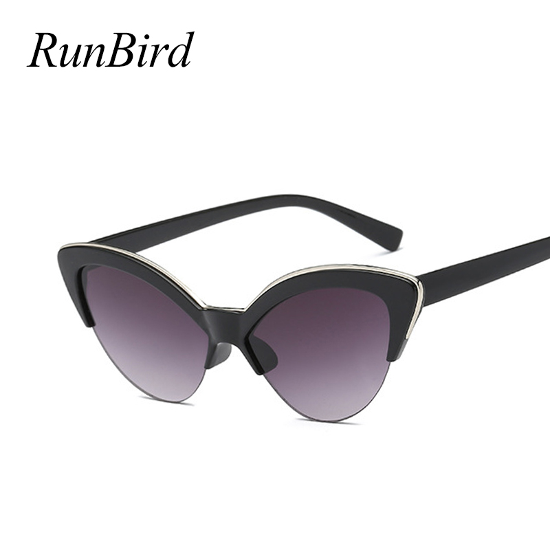 <font><b>Cute</b></font> <font><b>Sexy</b></font> <font><b>Retro</b></font> <font><b>Cat</b></font> <font><b>Eye</b></font> <font><b>Sunglasses</b></font> Women Small Black White 2018 Triangle Vintage Half Frame Sun Glasses Blue Female Uv400 5184R image