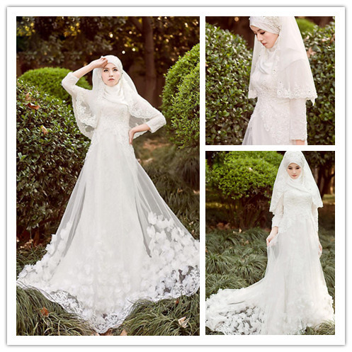 Vintage Muslim Long Sleeve Wedding Dresses With font b Hijab b font Islamic Plus Size Colorful