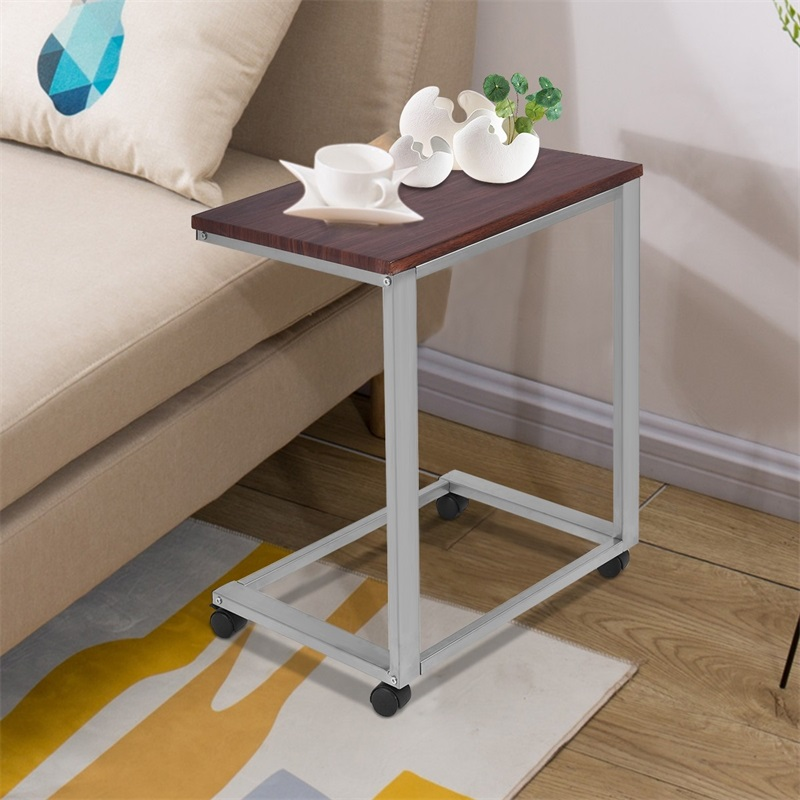 High Quality Portable Rolling Stand Sofa Side Table Sturdy Engineering MDF Iron Frame End Table Four Casters Easy Move HW54185