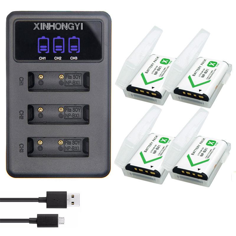 4x NP-BX1 battery NP BX1 + 3 Slots battery Charger for Sony DSC-RX100 DSC-WX500 HX300 WX300 HDR AS100V AS200V AS15 AS30V M2 M3