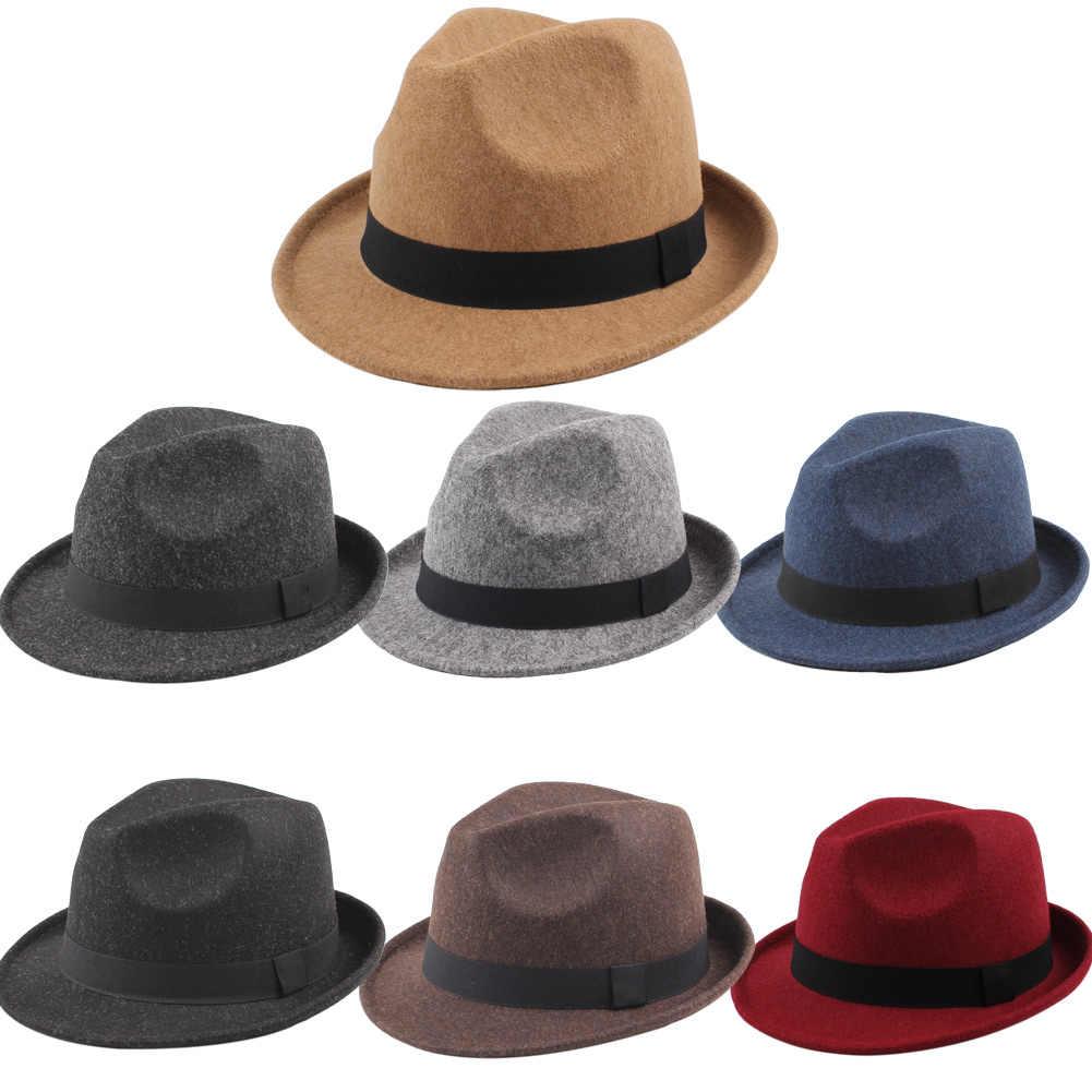 5474414584f ... 2019 Fashion Unisex Fedoras Wide Brim Men Women Fedora Hat Jazz Cap  Unisex Sun Hat Solid