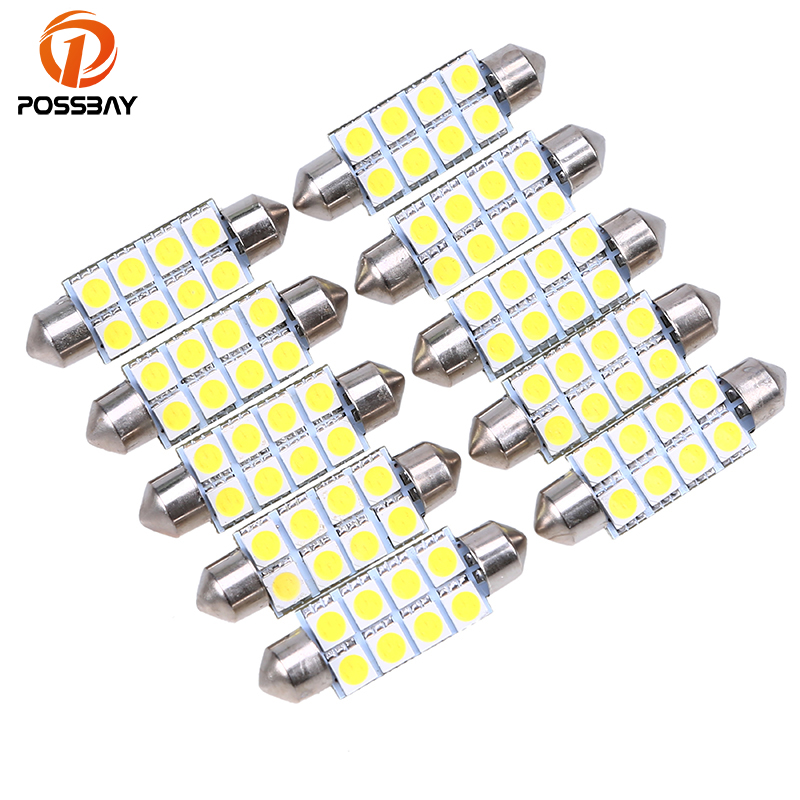 US $3.97 20% OFF|POSSBAY 10 Pcs 41mm 5050 8SMD Lights White Micro General Bulbs Car Interior Festoon Dome LED Light Lamp DC12V Car Reading Lights in