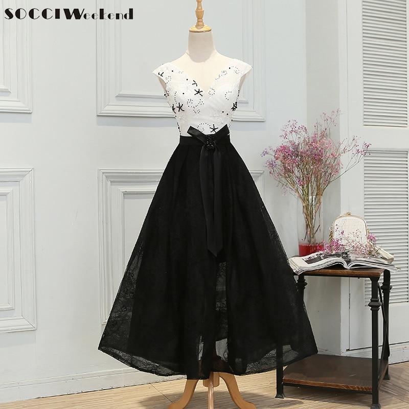 SOCCI Robe de Soiree negro de encaje largo vestidos de noche 2017 v - Vestidos para ocasiones especiales