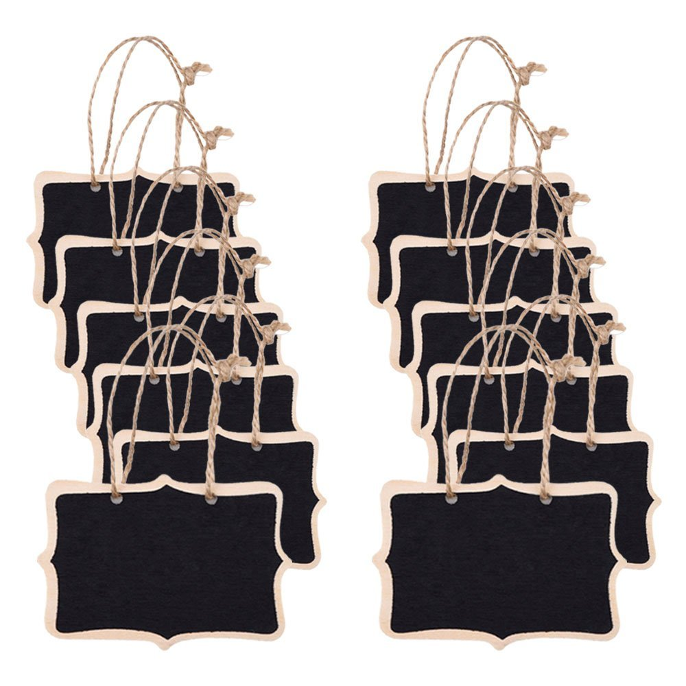 10PCS Mini Chalkboard Place Card Hemp Rope Hanging Blackboard Double Sided Note Chalkboard Wedding Party Table Number Place Tag