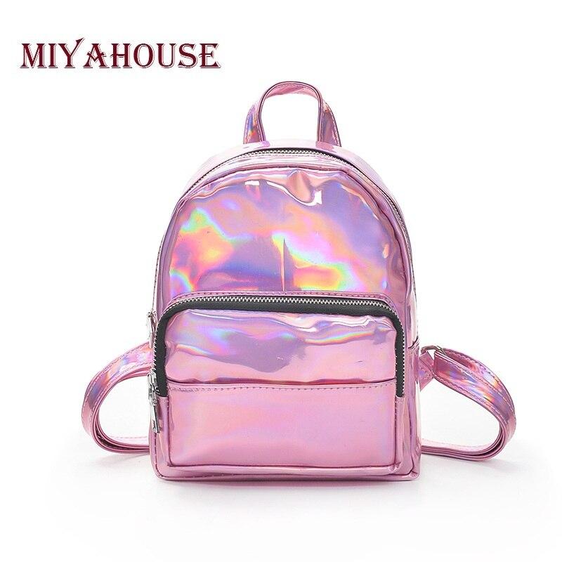 ... Miyahouse Korean Style Shoulder Bag Women Tide Laser Mini Backpacks  Candy Color Student Small Backpack Summer ... 949021afa4