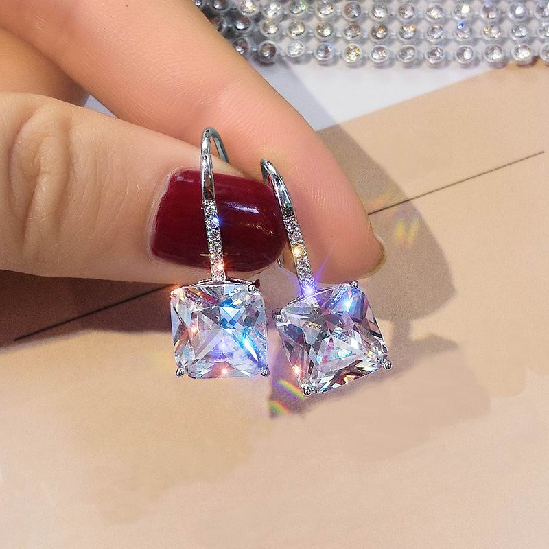 Fashion Sparkly Zircon Earrings For Women Korean Simple Earring Jewelry Party Bijoux Silver Color