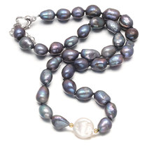 Jewelry Choker Style Wedding Necklace 9-10mm Freshwater Pearl  for Women Gift