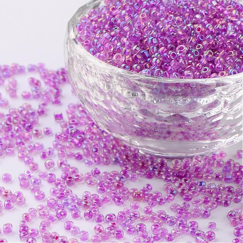 Jewelry DIY Beads 12/0 Glass Seed Beads, Trans.Inside Colours Rainbow Round, Purple, 2mm; about 30000pcs/pound