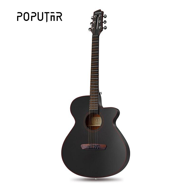 Poputar P1 40 pouces application intelligente-Contrôlée Bois Folk Guitare Avec Sac/Capo/Picks/Cordes/Titulaire