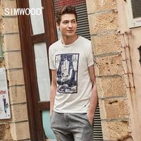 SIMWOOD 2017 Summer T Shirt Men New Slim Fit Vintage 100 Pure Cotton O Neck Print