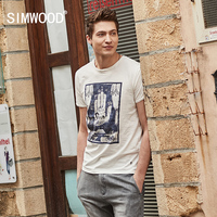 SIMWOOD 2017 Summer T Shirt Men New Slim Fit Vintage 100 Pure Cotton O Neck Print