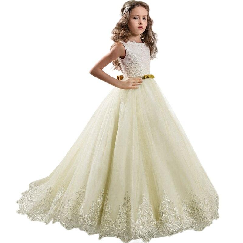 High-end gorgeous elegant children's wedding   dress     Girls   High Quality Sequin Princess   Flower     Girl     Dress   Host sweet bow   dress