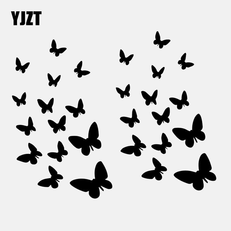 YJZT 16CM*13CM Butterflies Decal Vinyl Art Decoration Small Butterfly Car Stickers Black/Silver C24-0306