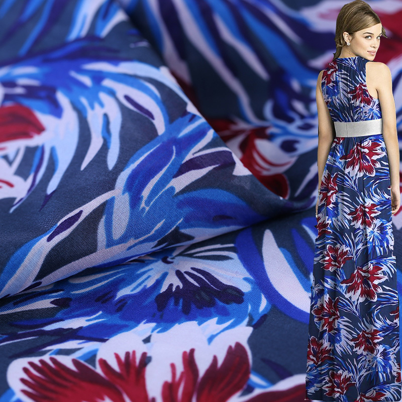 10M/M Digital Printing Cotton Silk Fabric For Dress Fashion Challie Cotton Fabric Sewing Garments Printed Cloth Costura Vestidos