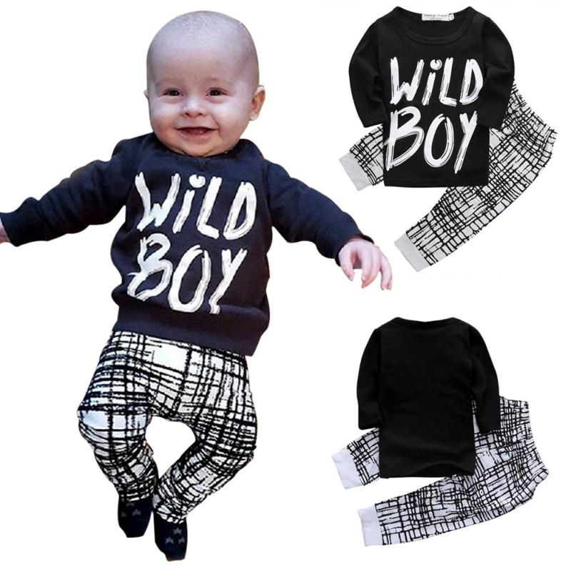 Autumn Winter Baby Boy Clothes Long Sleeve Letter Printed Top Pants 2 Pcs Sport Suit Newborn
