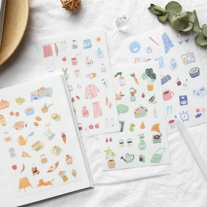 4 Pcs/pack Ownday Daily Life Bullet Journal Decorative Stickers Scrapbooking Stick Label Diary Stationery Album Stickers