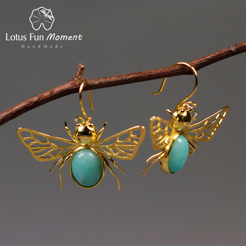 Lotus Fun Moment Real 925 Sterling Silver Natural Blue Stone Fashion Jewelry Cute Hollow Out Honeybee Dangle Earrings for Women