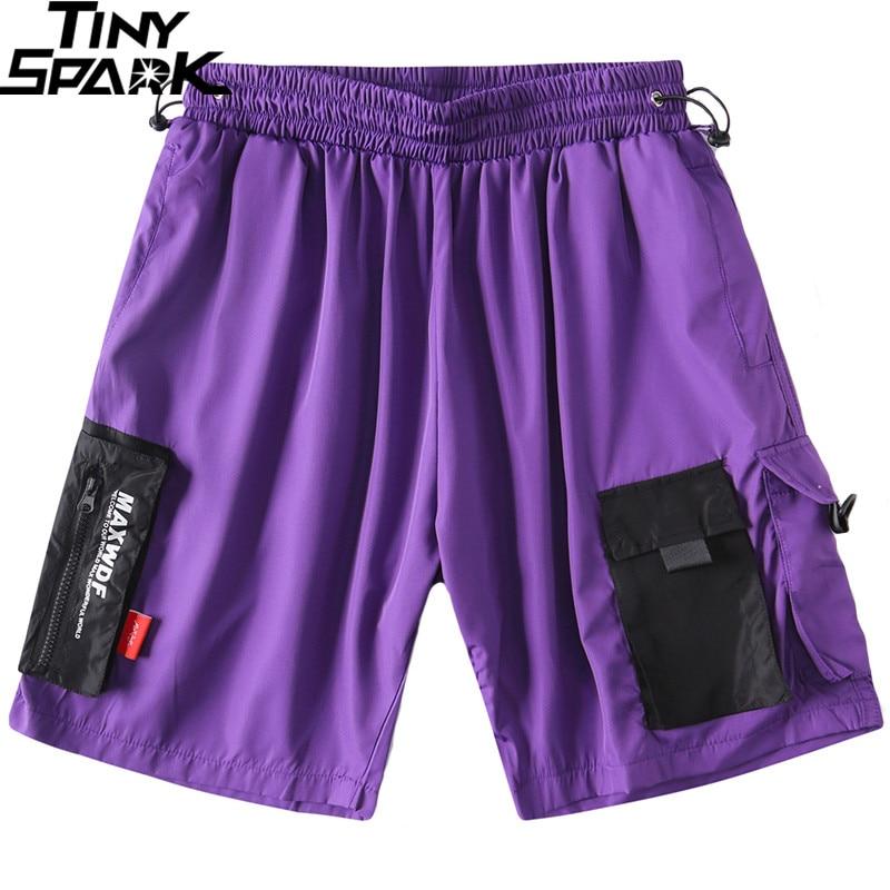 2019 Hip Hop Shorts Streetwear Men Harajuku Jogger Shorts Summer Loose Track Short Cargo Sweatpant Zipper Pockets Cotton Casual