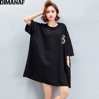 DIMANAF Women Summer T Shirt Plus Size 2018 Cotton Print Black Female Basic Tops Tees Casual