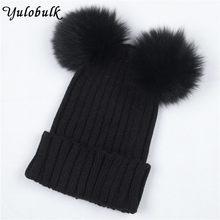 b5b3ddb794d80f Women's Winter Hat Chunky Knit Double Pom Pom Beanies Cap Faux Fur Pompom  Hats Women Headgear Ear Warmer Bobble Bonnet Gorros