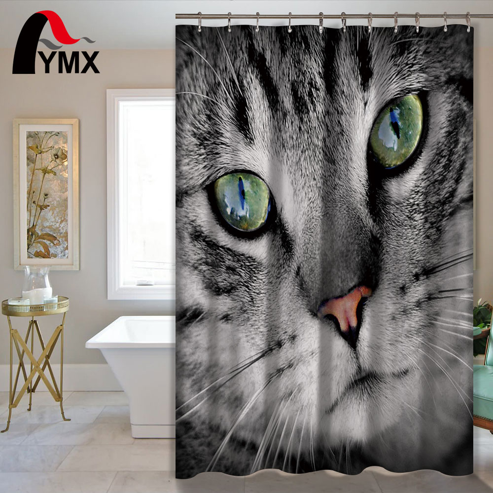 Cute Cartoon Cat Polyester Waterproof Shower Curtain Cat Bathroom Curtain with 12 Hooks Bath Shower Products Home Decorative