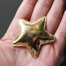 100 шт./лот Золотая Звезда фетр пентаграмма атласная нашивка W/Мягкий войлок ткань блеск DIY Craft
