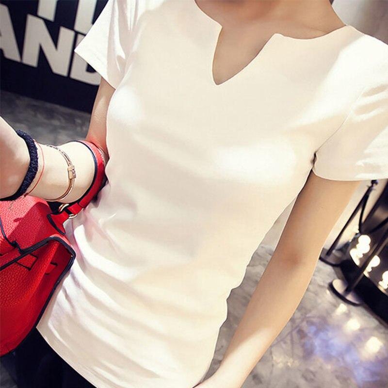 HTB1VgzrGKOSBuNjy0Fdq6zDnVXal - T-shirt Women Autumn Cotton Female T Shirts V-Neck Solid Tops Casual
