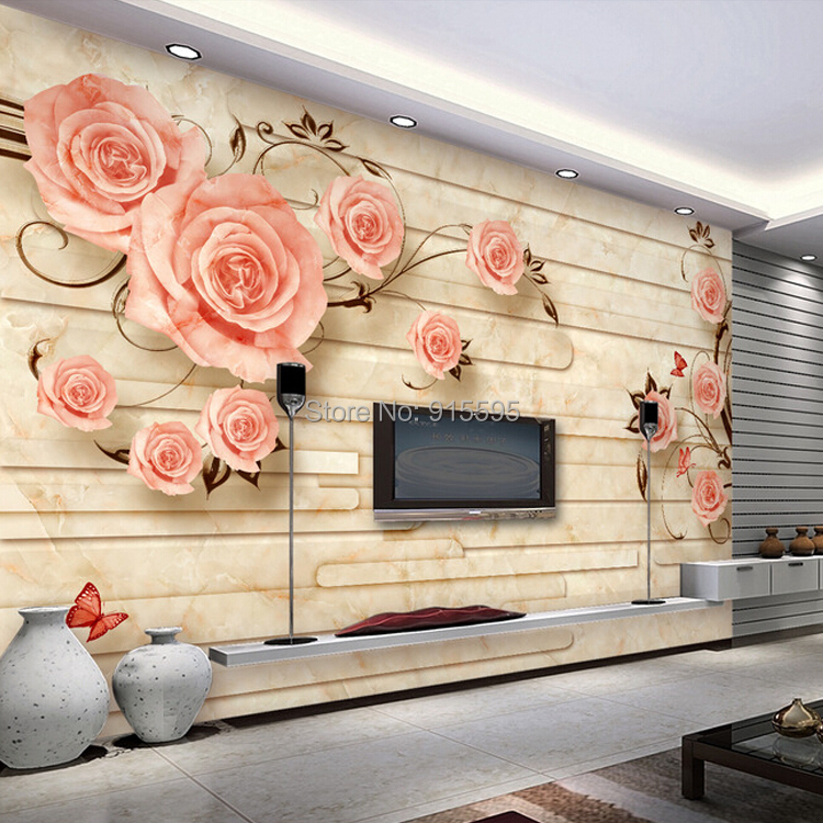 Living Room 50 Off 50%off custom european 3d stereo flower vine rose marble-tiled