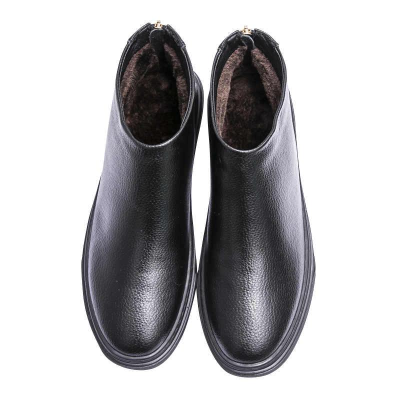 Hakiki Deri Chelsea Çizmeler Erkekler Sonbahar Kış Ayakkabı sıcak Peluş Erkek Inek Deri rahat ayakkabılar Erkek yarım çizmeler Siyah KA1626