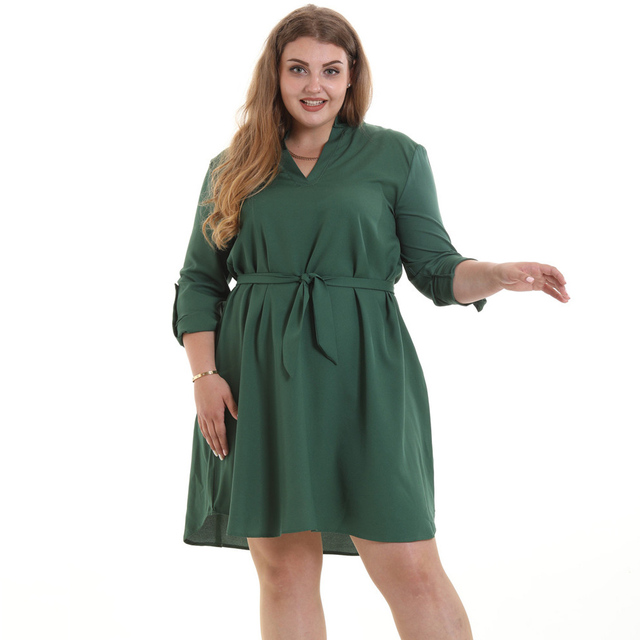 New Fashion Plus Size 5XL XXXXL Chiffon Casuall Dress XXXL Three Quarter Sleeve V-neck Dresses with belt