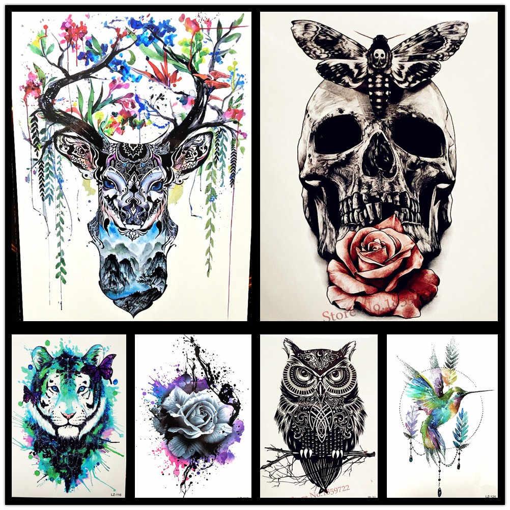25 стиль Красота женский боди-арт временная татуировка Водонепроницаемая хна Бабочка череп тату паста поддельные акварельные Совы тату наклейки
