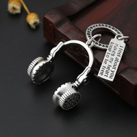 S925 Sterling Silver Personality Sweater Chain Necklace Pendant Creative Letter Card Headset Jewelry For Men And Women Pendant
