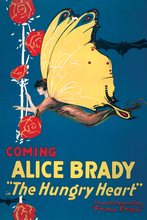 canvas painting movie poster vintage print  modern cartoon picture Alice Brady the Hungry heart posters butterflies